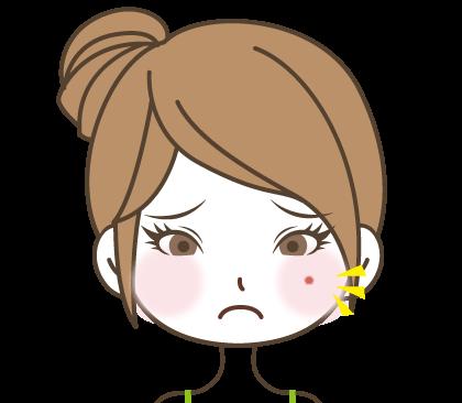 頬にぽつっと赤いニキビがでて困っている女の子のイラスト