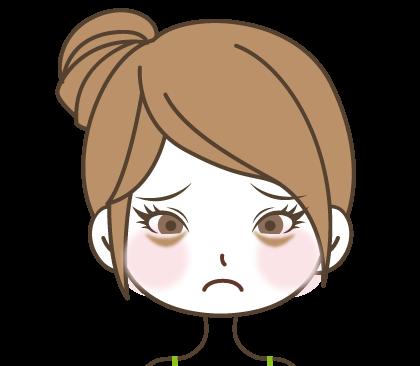 目の下のくすみに悩む女の子のイラスト