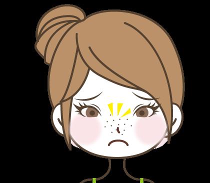 鼻のポツポツ見える黒ずみに悩む女の子のイラスト