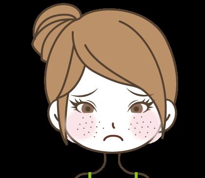 頬にぽつぽつ見える毛穴の開きに悩む女の子のイラスト