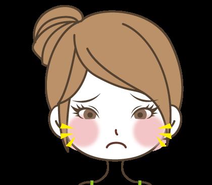頬が赤くなり困った顔の女の子のイラスト