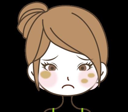 頬にぽつぽつとシミがある困った顔の女の子のイラスト