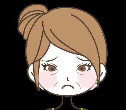 目の下口元にシワがあり困った顔の女の子のイラスト